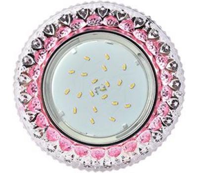 """Ecola GX53 H4 LD7009 Светильник встр. искристый с подсветкой """"Кристалл"""" Прозрачный и Розовый / Хром 40x125 (к+) Истра"""