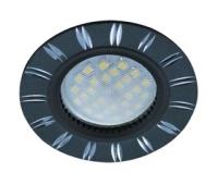 НОВИНКА!Светильник Ecola MR16 DL3184 GU5.3 встр. литой (скрытый крепёж лампы) Двойные реснички по кругу Чёрный/Алюминий 23х78 Истра