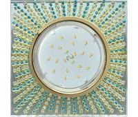Ecola GX53 H4 Glass Квадрат с прозр. и бирюз.страз. (оправа золото)фон зерк./центр золото 40x123х123 Истра