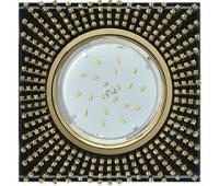 Ecola GX53 H4 Glass Квадрат с прозр. страз. (оправа золото) фон черн./центр золото 40x123х123 Истра
