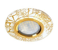 Ecola MR16 DL1654 GU5.3 Glass Стекло Круг граненый Золото на белом / Золото 25x90 (кd74) Истра