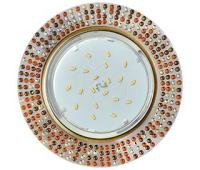 Ecola GX53 H4 5319 Glass Круг с  прозр.-янтарной мозаикой/фон зерк./центр.часть черненая бронза 40x123x123 (к+) Истра