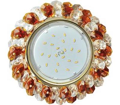 Ecola GX53 H4 Glass Круглый с хрусталиками прозрачный и янтарь/ золото 56x120 Истра