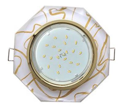 Ecola GX53 H4 Glass Стекло 8-угольник с прямыми гранями золото - золото на белом 38x133 Истра