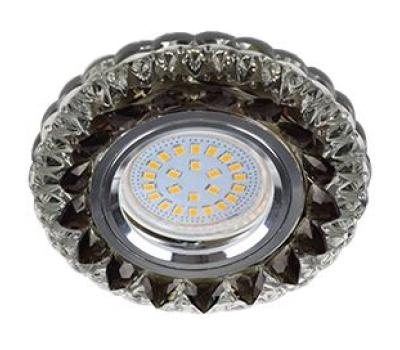 """Ecola MR16 LD7009 GU5.3 Светильник встр. искристый с подсветкой """"Кристалл"""" Прозрачный и Черный / Хром 30x95 Истра"""