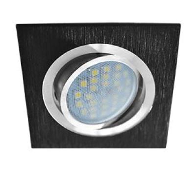 Ecola MR16 DL205 GU5.3 Светильник встр. литой поворотный Квадрат Шлифованный черный / Хром 25x92x92 Истра