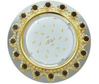 Ecola GX53 H4 Glass Круг с прозр. и янтарн. страз. Корона (оправа золото)/фон зерк/центр золот  52x120 Истра