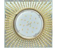 Ecola GX53 H4 Glass Квадрат с прозр. страз. (оправа золото) фон зерк./центр золото 40x123х123 Истра