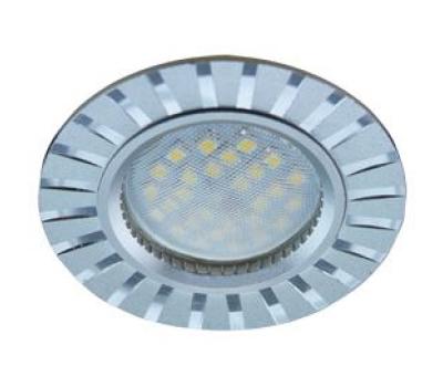 НОВИНКА!Светильник Ecola MR16 DL3183 GU5.3 встр. литой (скрытый крепёж лампы) Полоски по кругу Матовый хром/Алюминий 23х78 Истра