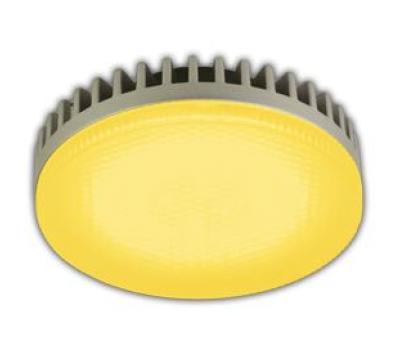 Ecola GX53   LED color  6,1W Tablet 220V Yellow Желтый матовое стекло 28x74 Истра
