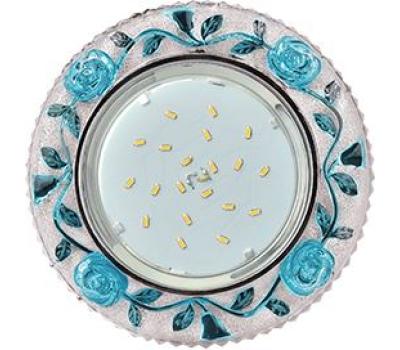 """Ecola GX53 H4 LD7071 Светильник встр. искристый с подсветкой """"Розы"""" Прозрачный и Голубой / Хром 35x125 (к+) Истра"""