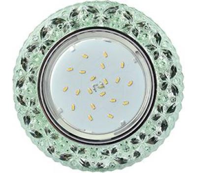 """Ecola GX53 H4 LD7040 Светильник встр. искристый с подсветкой """"Бабочки"""" Изумрудный / Хром 35x125 (к+) Истра"""
