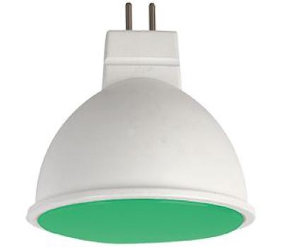 Ecola MR16   LED color  7,0W  220V GU5.3 Green Зеленый матовое стекло (композит) 47х50 Истра