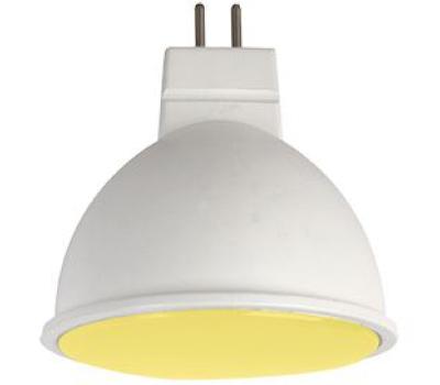 Ecola MR16   LED color  7,0W  220V GU5.3 Yellow Желтый матовое стекло (композит) 47х50 Истра