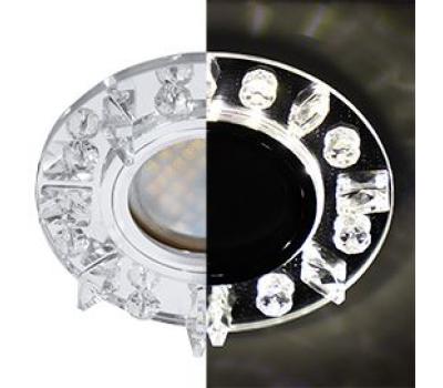 Ecola MR16 LD1661 GU5.3 Glass Стекло Круг с квадратными прозрачными стразами с подсветкой/фон зерк./центр.часть хром 42x95 Истра