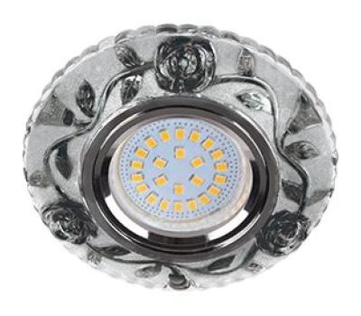 """Ecola MR16 LD7071 GU5.3 Светильник встр. искристый с подсветкой """"Розы"""" Прозрачный и Черный / Хром 25x95 Истра"""