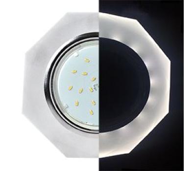 Ecola GX53 H4 LD5312 Glass Стекло 8-угольник с прямыми гранями с подсветкой  хром - матовый 38x133 (к+) Истра