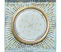 Ecola GX53 H4 Glass Квадрат с прозр. янтарн. мозаикой / фон зерк./центр чернёная бронза 40x123х123 Истра
