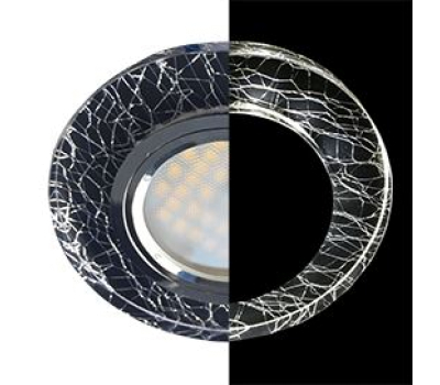 Ecola MR16 LD1650 GU5.3 Glass Стекло с подсветкой Круг Колотый лед на черном / Хром 25x95 (кd74) Истра