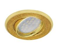 НОВИНКА!Светильник Ecola MR16 DL39 GU5.3 встр. литой поворотный Круг под стеклом Золотой блеск/Золото 23х88 Истра