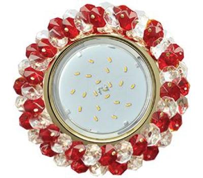 Ecola GX53 H4 Glass Круглый с хрусталиками прозрачный и рубин/ золото 56x120 Истра