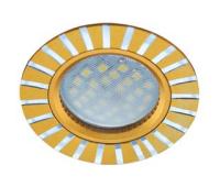 НОВИНКА!Светильник Ecola MR16 DL3183 GU5.3 встр. литой (скрытый крепёж лампы) Полоски по кругу Матовое золото/Алюминий 23х78 Истра