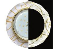 Ecola GX53 H4 LD5313 Glass Стекло Круг с вогнутыми гранями с подсветкой  золото - золото на белом 38x126 (к+) Истра