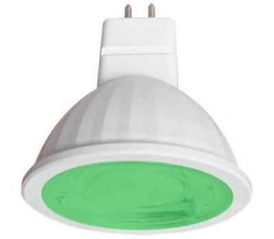 Ecola MR16   LED color  9,0W  220V GU5.3 Green Зеленый (насыщенный цвет) прозрачное стекло (композит) 47х50 Истра