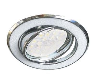 Ecola MR16 DL39S GU5.3 Светильник встр. поворотный Круг под стеклом Белый блеск/Хром 26x94 Истра