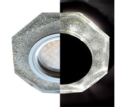 Ecola MR16 LD1652 GU5.3 Glass Стекло с подсветкой 8-угольник с прямыми гранями Серебряный блеск / Хром 25x90 (кd74) Истра
