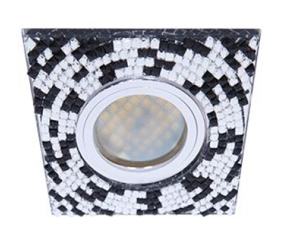 Ecola MR16 DL1658 GU5.3 Glass Стекло Квадрат с  прозр.-черной мозаикой/фон зерк../центр.часть хром 28x95x95 Истра
