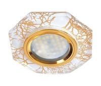 Ecola MR16 DL1652 GU5.3 Glass Стекло 8-угольник с прямыми гранями Золото на белом / Золото 25x90 (кd74) Истра