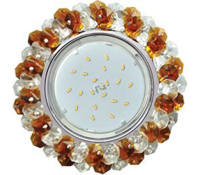 Ecola GX53 H4 Glass Круглый с хрусталиками прозрачный и янтарь/ хром 56x120 Истра