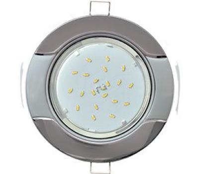 """Ecola GX53 H4 светильник встраив. без рефл. """"Волна"""" черный хром-серебро 38x116 Истра"""