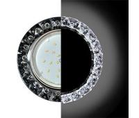 Ecola GX53 H4 LD5361 Glass Круг с крупными стразами Конус с подсветкой/фон черн./центр.часть хром 52x120 (к+) Истра