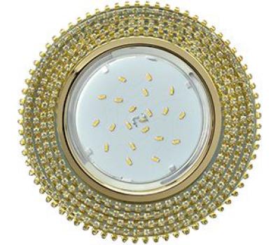 Ecola GX53 H4 Glass Круг с прозр.   страз. (оправа золото)/ фон зерк./центр  золото 40x120 Истра