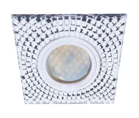 Ecola MR16 DL1658 GU5.3 Glass Стекло Квадрат с  прозр.  мозаикой/фон зерк./центр.часть хром 28x95x95 Истра