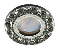 Ecola MR16 DL1660 GU5.3 Glass Стекло Круг с  прозрачными стразами Корона (оправа хром)/фон зерк./центр.часть хром 28x93 Истра