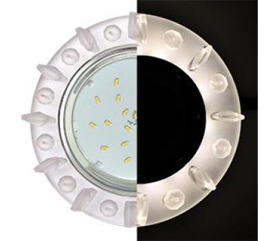 Ecola GX53 H4 LD5361 Glass Круг с квадр. матовыми стразами с подсветкой/фон матовый/центр.часть хром 52x120 (к+) Истра