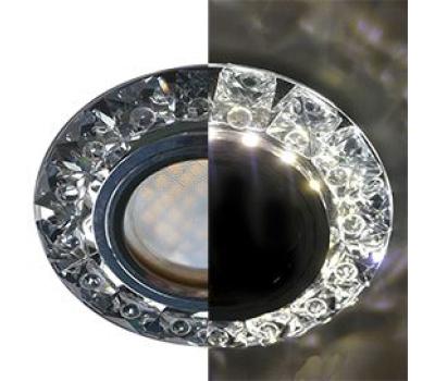 Ecola MR16 LD1661 GU5.3 Glass Стекло Круг с крупными прозр. стразами Конус с подсветкой/фон черн./цеентр.часть хром 38x95 Истра