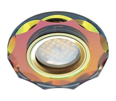 Ecola MR16 DL1653 GU5.3 Glass Стекло Круг с вогнутыми гранями Мультиколор / Золото 25x90 Истра