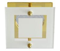 Ecola MR16 DL200 GU5.3 Glass Квадрат со стеклом Прозрачный и Матовый / Золото 45x77x77 Истра