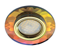 Ecola MR16 DL1654 GU5.3 Glass Стекло Круг граненый Мультиколор / Золото 25x90 Истра