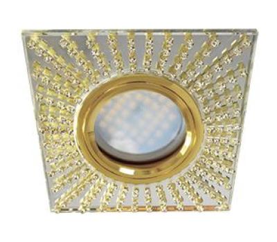 Ecola MR16 DL1659 GU5.3 Glass Стекло Квадрат с прозр.стразами (оправа золото)/фон зерк./центр.часть золото 30x95x95 Истра