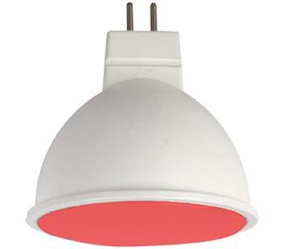 Ecola MR16   LED color  7,0W  220V GU5.3 Red Красный матовое стекло (композит) 47x50 Истра