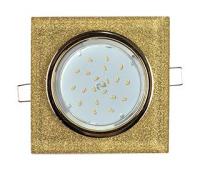 Ecola GX53 H4 Glass Стекло Квадрат скошенный край Золото - золотой блеск 38x120x120 (к+) Истра
