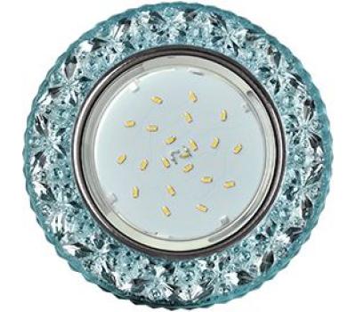 """Ecola GX53 H4 LD7040 Светильник встр. искристый с подсветкой """"Бабочки"""" Голубой / Хром 35x125 (к+) Истра"""