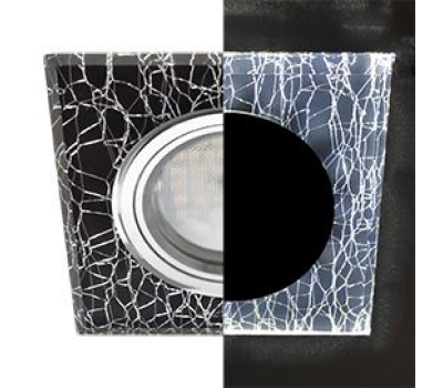 Ecola MR16 LD1651 GU5.3 Glass Стекло с подсветкой Квадрат скошенный край Колотый лед на черном / Хром 25x90x90 (кd74) Истра