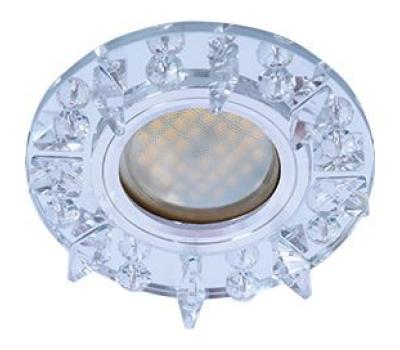 Ecola MR16 DL1661 GU5.3 Glass Стекло Круг с квадратными прозрачными стразами /фон зерк./центр.часть хром 42x95 Истра