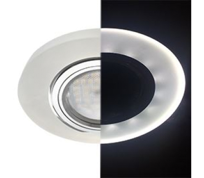 Ecola MR16 LD1650 GU5.3 Glass Стекло с подсветкой Круг Матовый / Хром 25x95 (кd74) Истра